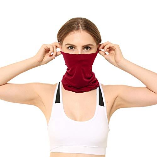 NPRADLA 1/2/3 Stück Gesichtstücher für Unisex Kopftücher Neutral Outdoor Kopftuch Winddichtes Sonnenschutz Stirnband Plain Bandana Damen Herren Halsschals (3 PCS, Weinrot)