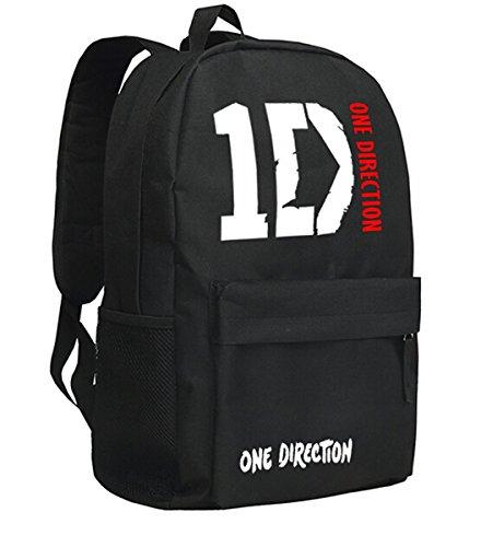 AUGYUESS One Direction Schultasche Tagesrucksack Büchertasche Laptoptasche Handtasche Rucksack Laptop Medium schwarz