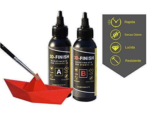 Resin Pro – 3D Finish – Revestimiento para impresión 3D, resina rápida y transparente para lijado y acabado, bicomponente A+B, creación de objetos, joyas, compatible con pasta de colorantes, 150 ml
