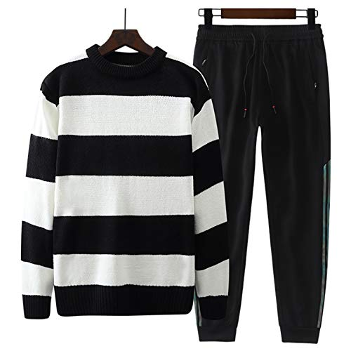 HBODHBGS Big Size Sweater de los Hombres Sweetpants Set Otoño Invierno Jerseys Mens Sports Sports Sweater Rayado Pantalones Traje Masculino Black 4XL 120