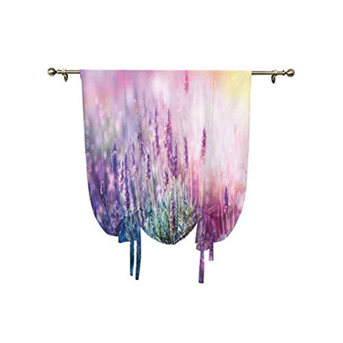 Lavender Tie Up Curtain Panels,Fantasy Dreamlike Herbal Meadow Close Up View Magical Nature Theme Decorative Adjustable Balloon Curtain Shade,39x47 Inch,for bathroom window Teal Lilac