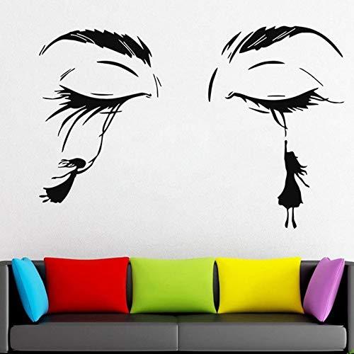ASFGA Wimpern Wandtattoo Frau Gesicht Wimpern Augenbrauen Tür und Fenster Vinyl Aufkleber Schönheitssalon Schönheit Wimpern Mädchen Schlafzimmer Innengeschäft Dekoration Tapete 57 x 37 cm