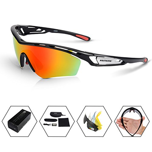 KastKing COSO Sport Sunglasses, 4 Interchangeable Colors with 2 Polarized Lenses, Ultimate Safety Impact Resistant, UV Eye Protection, Unbreakable TR90 Frame