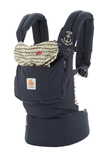 Ergobaby Original Award Winning Ergonomic Multi-Position Baby Carrier with X-Large Storage Pocket, Sailor