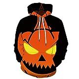 Ginli Uomo Felpa con Cappuccio Stampato 3D Hoodie Tasche Coulisse Casual Sweatshirt Luce di Zucca di Halloween 2019 Nuovo