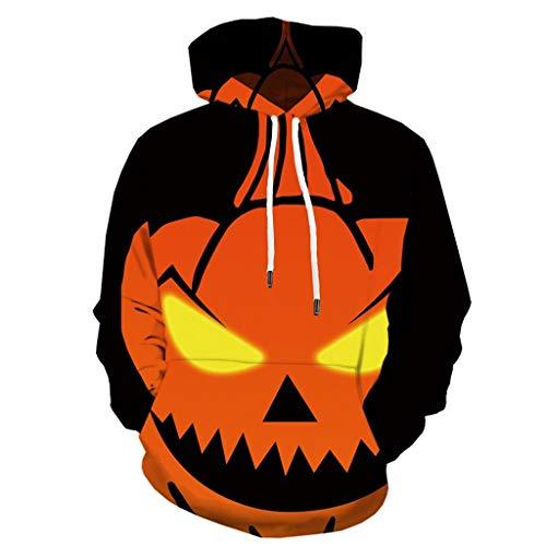 MAYOGO Sweatshirt Pullover Mit Kaputz Halloween Kostüm Herren Kapuzen Pullover 3D Hoodie Halloween Hoodie Horror Kostüm Kürbis Sweatjacke Halloween Kapuzenpullover Übergangsjacke Hoode