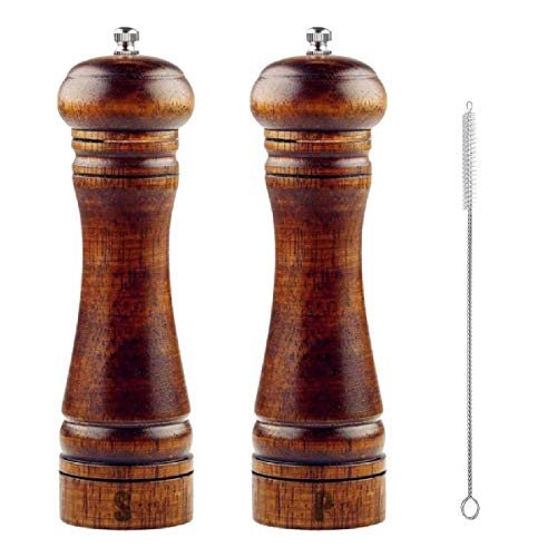 S & C Kitchen - Wooden Salt and Pepper Grinder Set with a cleaning brush - 8 inch tall - Adjustable Ceramic Rotor and easily refillable. Wooden Salt and Pepper Grinder Set - 2 Grinders (Mills) & brush