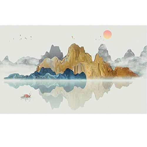 [Natural Scenery Series] Grote luxe berijpte raamfolie Berg- en rivierreflectie Prachtige zonsondergang gekleurd raamsticker, aangepast formaat