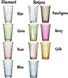 Ritzenhoff & Breker 807011 Longdrinkgläser-Set Lawe Stripes, 6-teilig, je 400 ml, Hellblau, Glas, 400 milliliters - 6