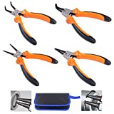 Glarks 4Pcs 7-Inch Snap Ring Pliers Set Heavy Duty Internal/External Circlip Pliers Kit with Straight/Bent Jaw for Ring Remover Retaining, with Leather Bag