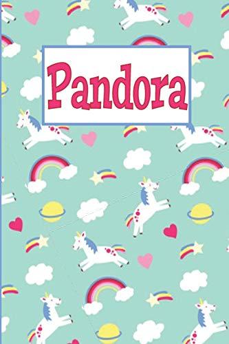 [画像:Pandora: Personalized Named Unicorn Journal Notebook Pretty Magical Rainbows & Hearts Cover For Women And Girls Lined Pages]