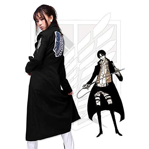 Memory meteor Attack on Titan (Shingeki No Kyojin) Cosplay Jacket Man Women Trench Coat Cosplay Costume Black,M