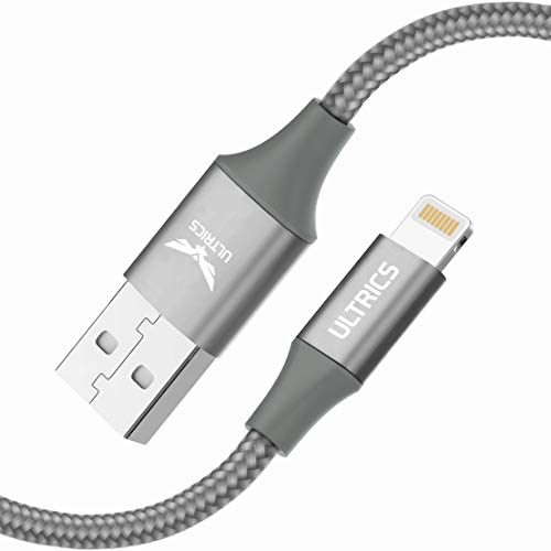 ULTRICS iPhone Charger Cable 2M, Apple MFi Certified Lightning Cable, Nylon Braided USB Fast Charging and Sync Lead Compatible with iPhone 12 Pro Max/ 11/ XS/XR/X/ 8/7 Plus/SE/iPad/iPod – Grey