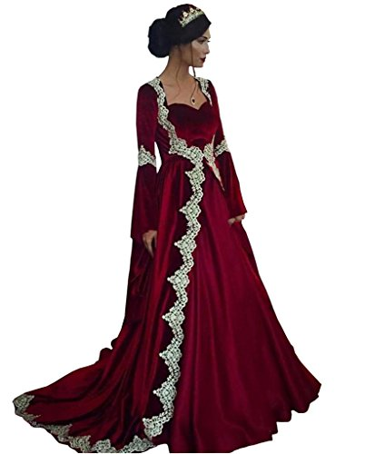 Banfvting Two Pieces Medieval Formal Dress Sweetheart Long Sleeves Evening Gown