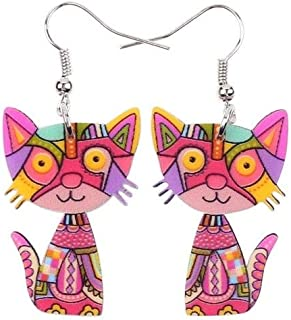 Drop Cat Earrings Acrylic Long Dangle Earring 2015 Fashion Jewelry For Women Girl New Style Cute Animal Accessories Size/Color : Red