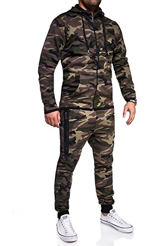 MT Styles Trainingsanzug mit Zipper Sportanzug R-7039 [Khaki, L]