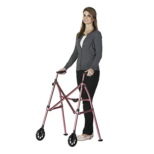 Able Life Space Saver Walker, Lightweight Folding Mobility Rolling Walker for Seniors and Adults, 6-inch Wheels and Ski Glides, Regal Rose