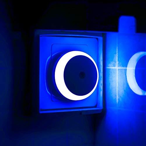 LED Steckdose Nachtlicht, Dämmerungssensor, Blaues Licht, Automatisches Nachtlicht, Energieeffizienz, Rund, 2er Pack
