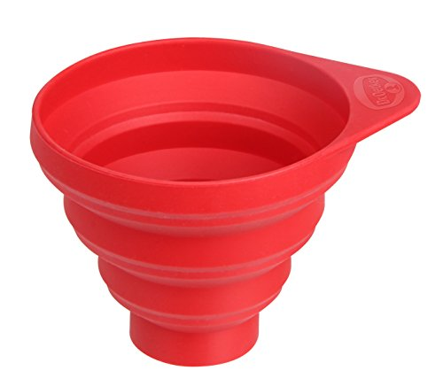 Dr. Oetker Silikon-Trichter Flexxibel, große Öffnung für einfaches Befüllen, hochwertiger Küchenhelfer aus Platinsilikon, faltbarer Trichter zum platzsparenden Verstauen - hitzebeständig bis 230 Grad, (Farbe: rot), Menge: 1 Stück