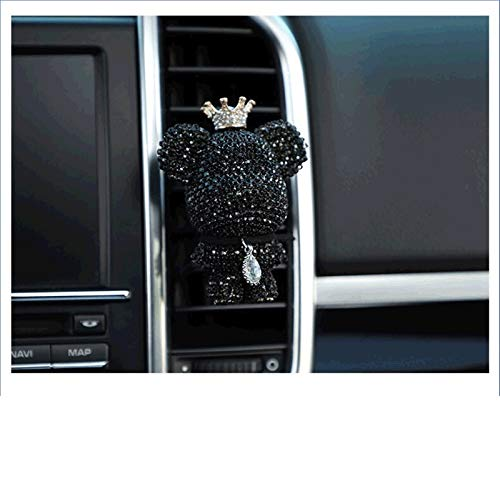 auto decoraties Rhinestone auto parfum lucht aromatherapie solide voor auto luchtafvoer outlet freshener airconditioning clip diffuser auto decoraties (Color Name : Black)