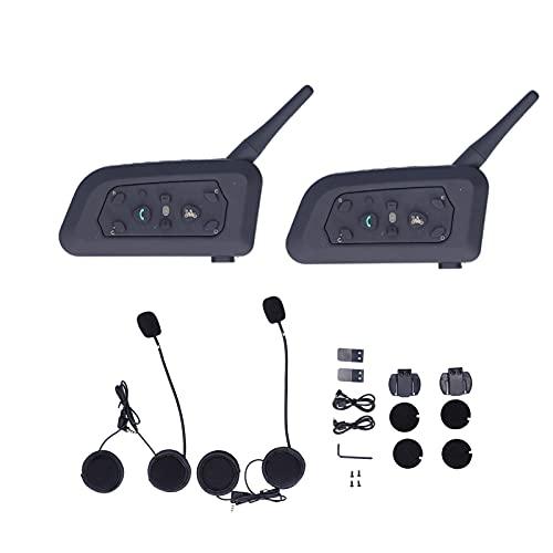 Intercomunicador de diente azul, V6 1200m / 0.7mile Manos libres Full Duplex MP3 Teléfono estéreo Reproductor de música ABS Metal para motocicleta