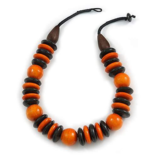 Avalaya Statement - Collana con Perline Rotonde in Legno, 56 cm, Colore: Arancione/Nero