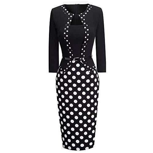 QUNLIANYI Jurken voor Vrouwen Plus Size Vrouwen Een Stuk Retro Polka Dot Patchwork Zakelijke Jurk Chic Elegante Office Lady Jurk