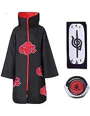 Baipin 3 Piezas Set Disfraz de Itachi Uchiha Cosplay Akatsuki Capa Larga de Akatsuki Diadema Leaf Village y Anillo Akatsuki para Fanáticos, Unisex