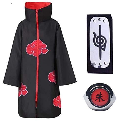 Baipin 3 Piezas Set Disfraz de Itachi Uchiha (Akatsuki) Cosplay Naruto Capa Larga de Naruto Akatsuki Diadema de Naruto Leaf Village y Anillo de Naruto Akatsuki para fanticos de Naruto Unisex