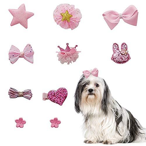 HACRAHO Hunde Haarspangen, 10 Stück gemischte Stile Hundehaarschleifen Hundeschleifen mit Clips...