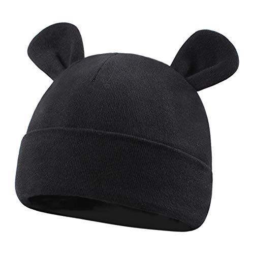 Duoyeree Baby Hat Newborn Hat Adorable Cotton Bear Ear Beanie Cap for Infant Girl Boy 0-6 Month,Black