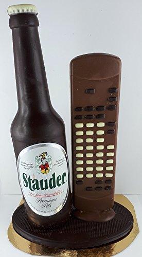 04#030522 Schokolade, Bierflasche, in ORIGINAL Größe, mit Fernbedienung, Stauder Bier, Bierflasche aus Schokolade, Schokoladenbierflasche, echte Etiketten