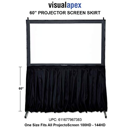 Buy Discount Visual Apex Projector Screen Black Screen Skirt Drape Kit (EL) 60 H x 156 W - Extra H...