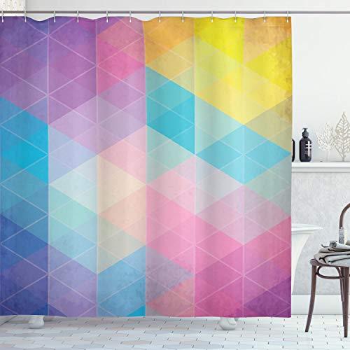 ABAKUHAUS Indie Duschvorhang, Dreiecke verträumte Farben, mit 12 Ringe Set Wasserdicht Stielvoll Modern Farbfest & Schimmel Resistent, 175x240 cm, Mehrfarbig
