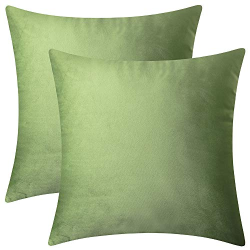 Artcest Set of 2, Decorative Square Velvet Throw Pillow Cases for Bedroom and Sofa, Soft Solid Cushion Covers for Couch and Car, 14' x14 (Moss Green)