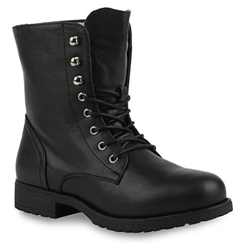 Damen Stiefeletten Profilsohle Worker Boots Leder-Optik Schnürstiefeletten Camouflage Verlours Schuhe 111335 Schwarz 36 Flandell