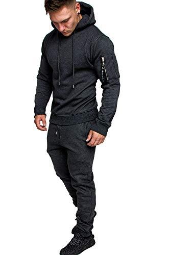 Amaci&Sons Herren Cargo Stil Sportanzug Jogginganzug Trainingsanzug Sporthose+Hoodie 1003 Anthrazit L