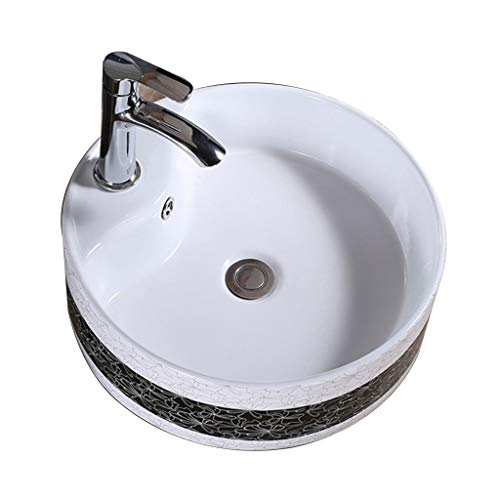 MinMin Badezimmer Becken kleine Wohnung nach Hause einfaches runde Keramik Tisch Badezimmer Waschbecken Balkon Wäsche Pool Badezimmer Becken 400x400x145mm Kunst Becken (Size : 400x400x145mm)