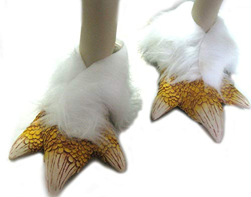Zagone Studios Mens   Women's Yellow Chicken Bird Feet with White Faux Fur, one Size fits Most