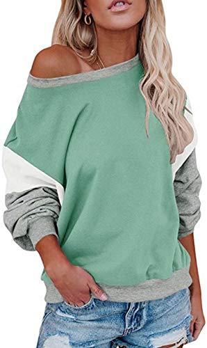 Damen Lose Fledermausärmel Sweatshirt Farbblock Pullover Oberteile Frauen Freizeit Rundhals T-Shirt Bluse (Grün, M)