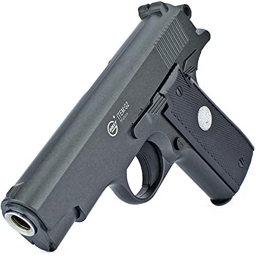 B.W. Softair Gun Airsoft Pistole + Munition | G2 - Schwarz Profi Vollmetall | 16cm. Inkl. Magazin & unter 0,5 Joule (ab 14 Jahre)