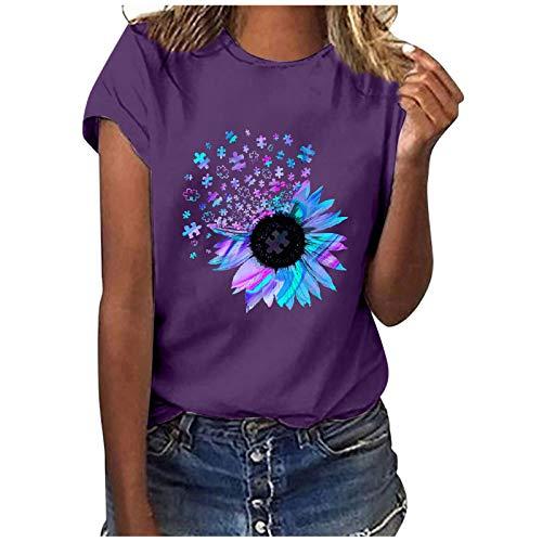 T-Shirt Damen Kurzarm Casual Sommer Lose Shirt Oversize Oberteile T-Shirt Bluse Frauen Casual Printing Kurzarm O-Ausschnitt Loose Tops (XXL,3lila)