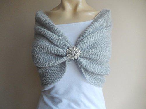 Grey Black Ivory White Red Shawl,Crochet Knit Shawl,Bridal Bolero,Gray Cape,Bridal Wrap,,Silver Shrug,Silver Wrap,Wedding Cape,Bridal Cape