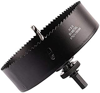 Hole Saw Blade with Heavy Duty Arbor for Cornhole Boards, Plywood, Iron board, Acrylic, Ducts, Ceiling lights, Cinder wall, High Speed Steel Black 6-inch 150mm