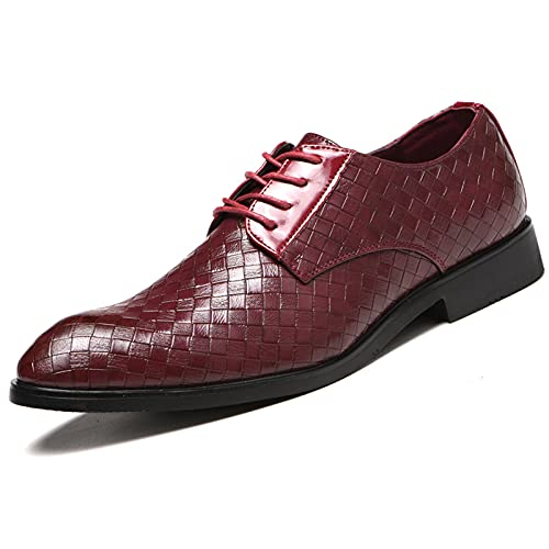MNVOA Scarpe Uomo Pelle, Derby Stringate Basse Elegante Sera Oxford Vintage Verniciata Marrone Blu Grigio Rosso 38-48EU,Burgundy,39EU