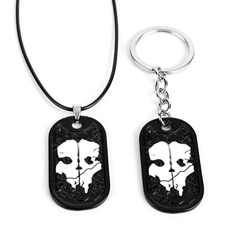 ARONTIME Juego de 2 collares de Call of Duty para hombre, llavero con etiqueta de fantasmas, regalos para aficionados al juego militar