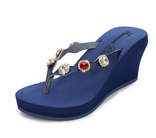HAOYUXIANG Chaussures de plage femme Fashion Diamond en cuir avec des sandales de plage (Couleur : Bleu, taille : 36)