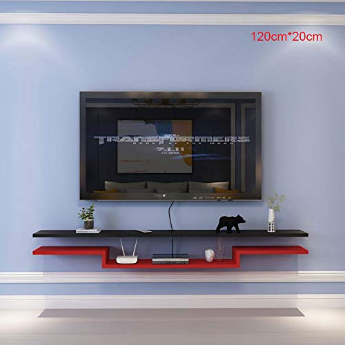 SWYM Schrank TV, 120 cm * 20 cm Tv-Lowboard Fernsehschrank Fernsehtisch, Hohenverstellbar, Wandmontage Matt Echtholz, Hängeboard Wohnwand, Für Router, Set-Top-Boxen, DVD-Player, CDs,Red and Black