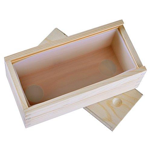 Witte rechthoek siliconen zeep mallen met houten doos