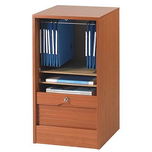 SIMMOB MATHA Classeur à Rideau Hauteur 76 cm Largeur 41 cm - Coloris - Merisier, Bois, 44x41,4x76,4 cm